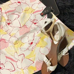 George Yellow & Pink Floral Stretch Mini Skirt 12